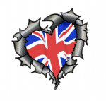 Ripped Torn Metal Heart Carbon Fibre with United Kingdom British Flag External Car Sticker 105x100mm